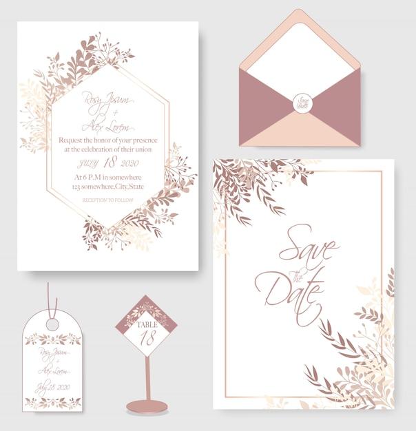 結婚式招待状の花のテンプレート。 Premiumベクター