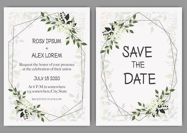 Приглашение на свадьбу, приглашение, сохранить дату дизайна карты с элегантным лавандовым анемоном. Premium векторы