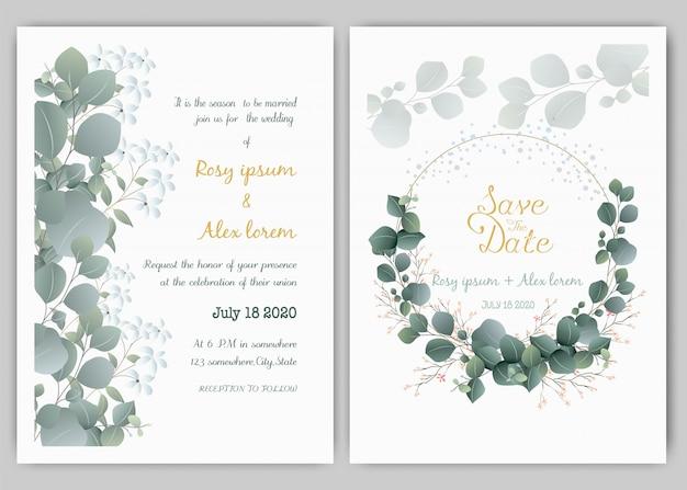 緑の結婚式の招待状カードのテンプレート、ユーカリ Premiumベクター