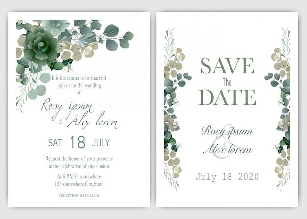 結婚式の招待カード花の手描きのフレーム。 Premiumベクター