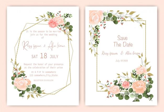 結婚式の招待カード花の手描きのフレーム。緑の結婚式の招待状、テンプレートユーカリの結婚式の招待状。 Premiumベクター