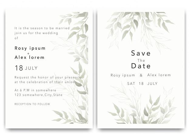 結婚式の招待状は、エレガントな庭のアネモネと日付カードのデザインを保存します。 Premiumベクター