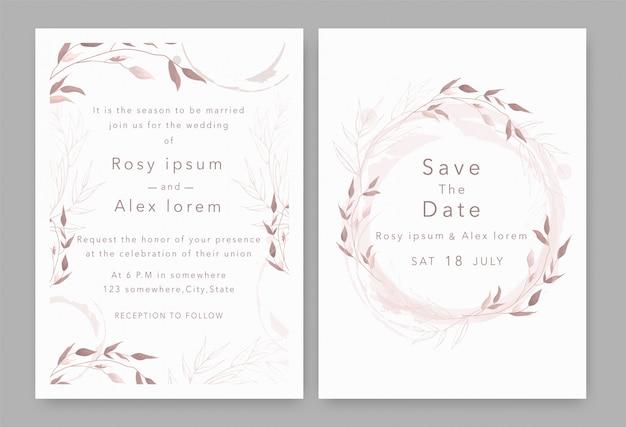 結婚式の招待状は、エレガントな庭のアネモネと日付カードを保存します。 Premiumベクター