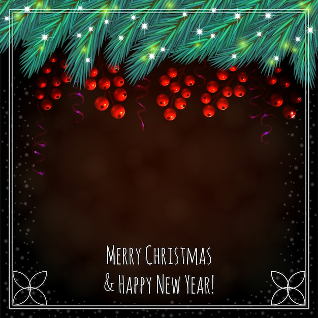 ベリーとクリスマスの茶色の背景 Premiumベクター