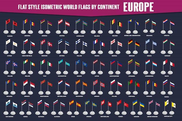 Изометрические флаги в стиле кантри европа Premium векторы