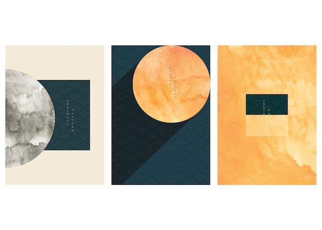 ビンテージスタイルの日本の波のパターンと幾何学的な背景のセットです。抽象芸術図形壁紙イラストのテンプレートコレクション。 Premiumベクター