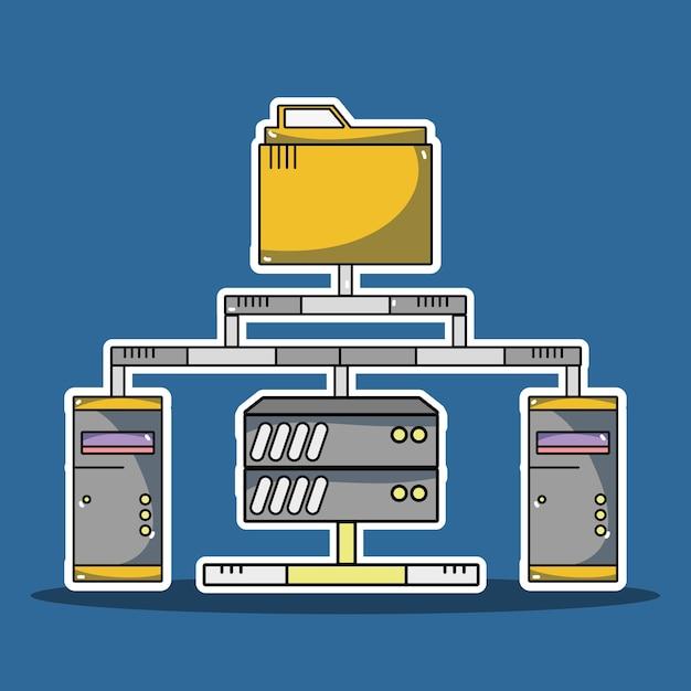 Информационный сервер информационного центра данных Premium векторы