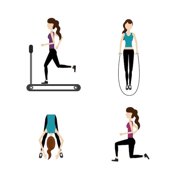運動を行う女性の健康的なライフスタイル Premiumベクター
