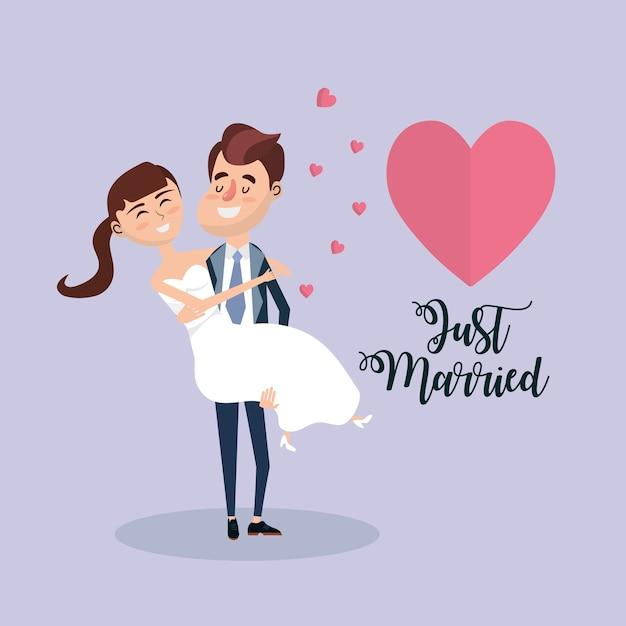カップルは心とロマンチックなお祝いと結婚しました Premiumベクター