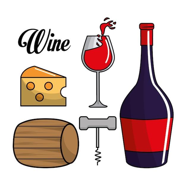 ガラス、ワインの瓶、バレル、チーズ、コルクを取る Premiumベクター
