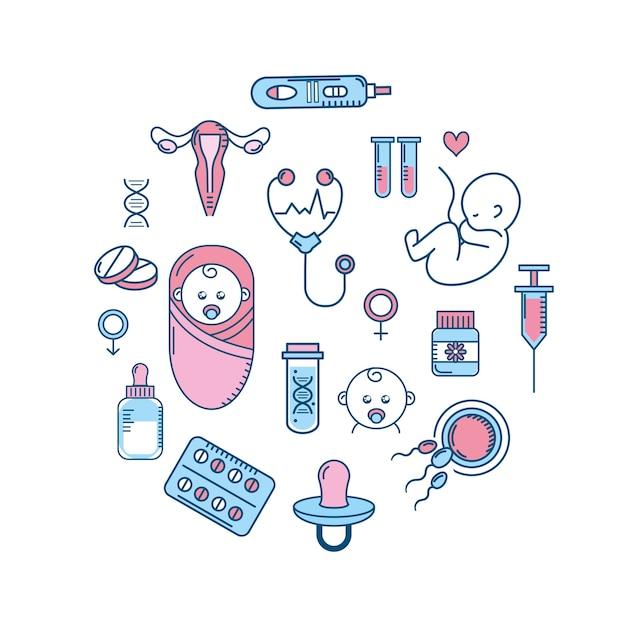 女性の妊娠から生殖および肥沃な過程 Premiumベクター
