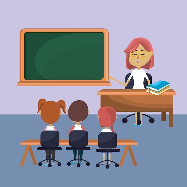 Учительница обучила студентов Premium векторы