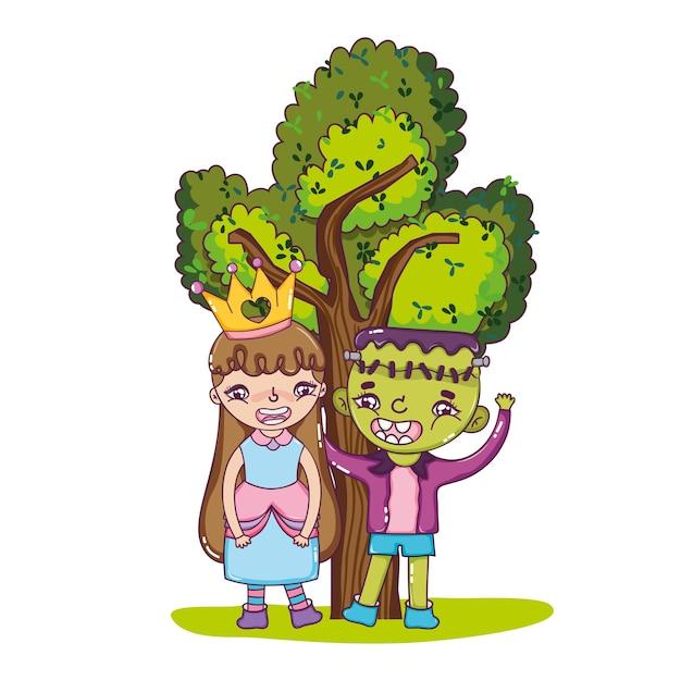 かわいい衣装と木でいい女の子と少年 Premiumベクター
