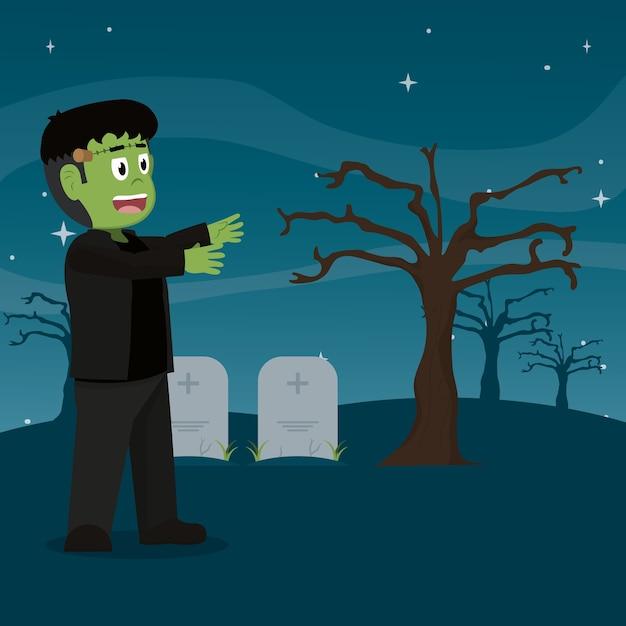 石造りの墓地のフランケンシュタイン怪獣 Premiumベクター