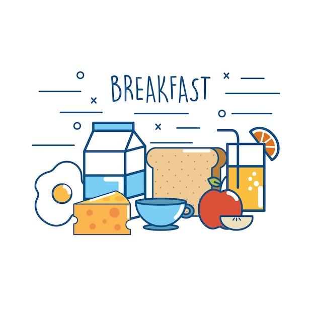 おいしい朝食食品栄養タンパク質 Premiumベクター