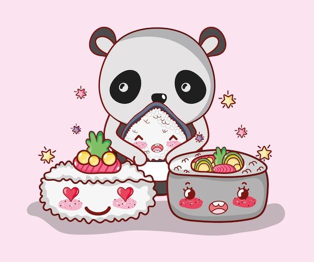 Суши и панда каваи Premium векторы