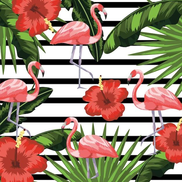 花と植物のフラミンゴは背景を残す Premiumベクター