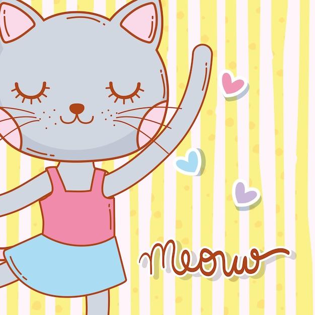 女性の猫動物の星と踊る Premiumベクター