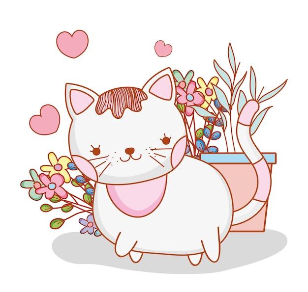 かわいい猫、植物と花の葉 Premiumベクター