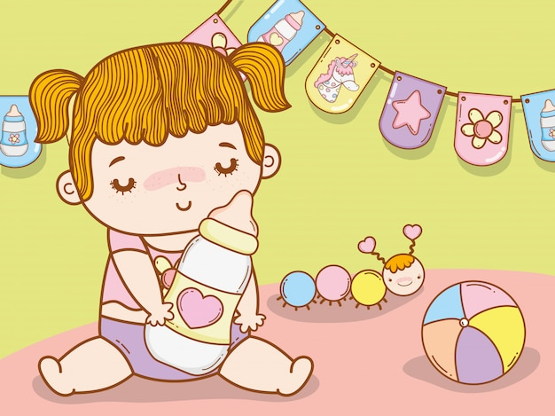 哺乳瓶とワームを持つ赤ちゃんの女の子 Premiumベクター