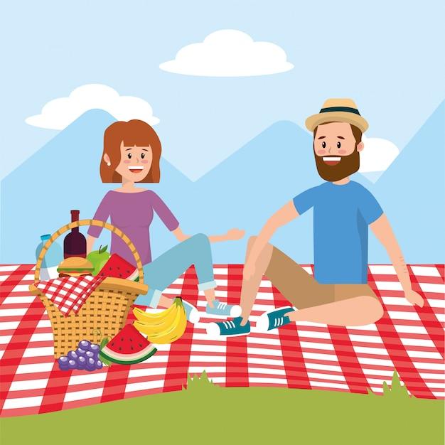 Женщина и женщина с удовольствием для пикника Premium векторы