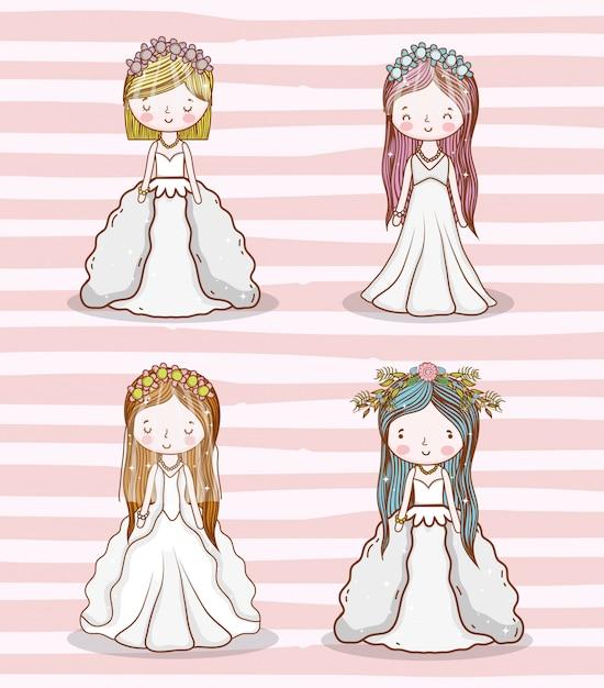 セット女性のガウンと髪型の結婚式 Premiumベクター