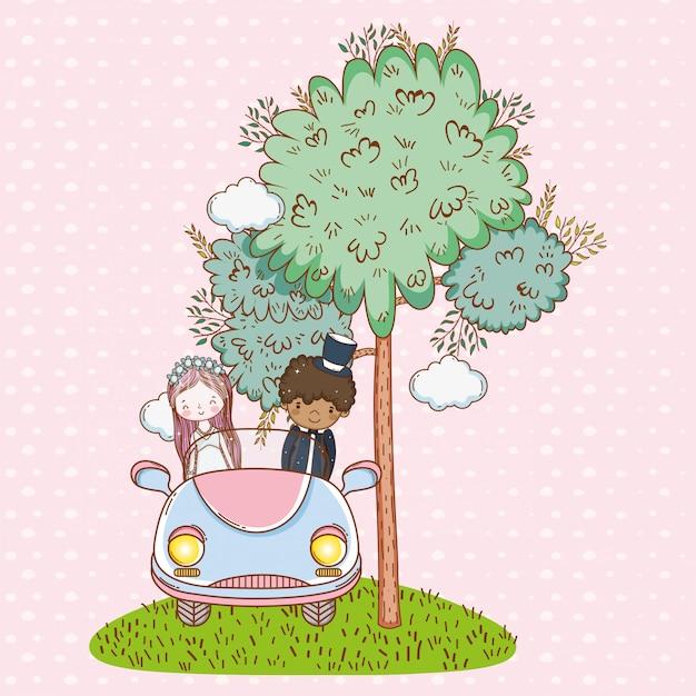 女、男、結婚式、車、木 Premiumベクター