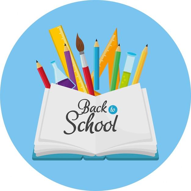 鉛筆の色と定規を持つ教育ノートブック Premiumベクター
