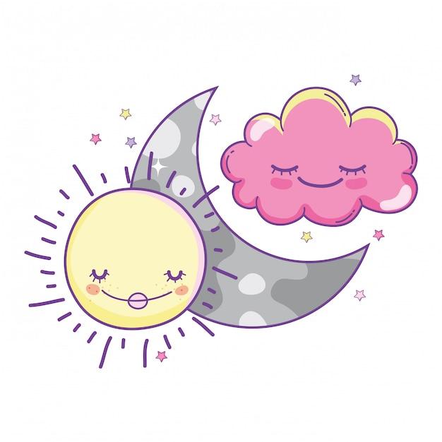 雲と月の可愛い漫画 Premiumベクター