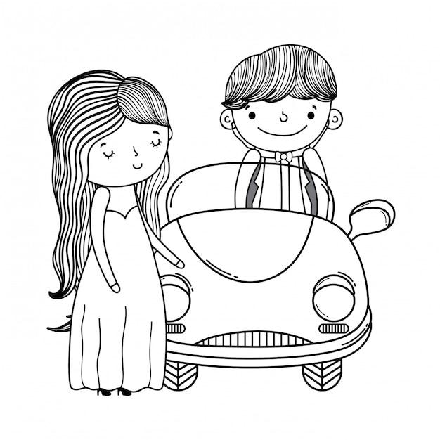 ウェディングカップルと車のかわいい漫画黒と白 Premiumベクター