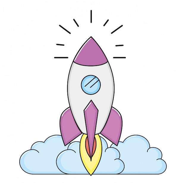 ロケット漫画を離陸 Premiumベクター