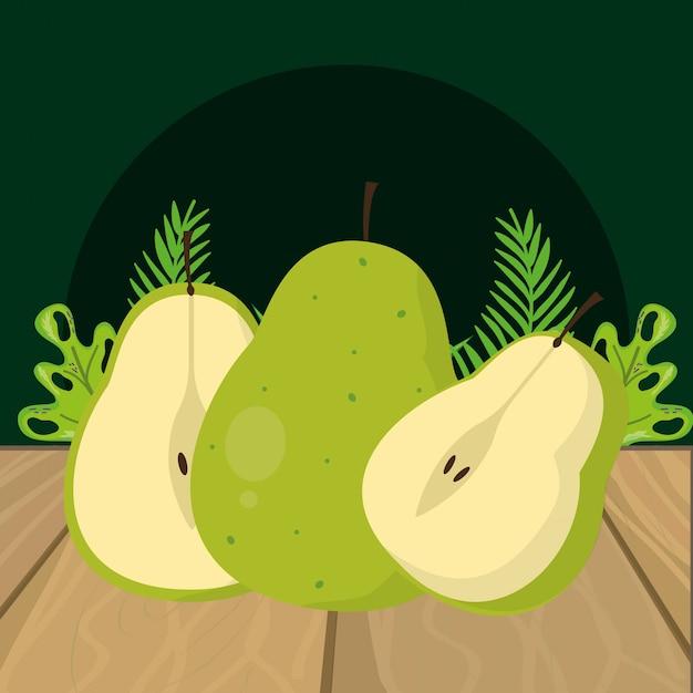 Свежие фрукты зеленая груша мультфильм Premium векторы