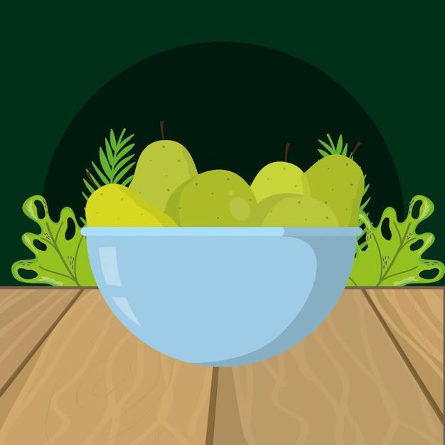 Свежие фрукты зеленые груши мультфильм Premium векторы
