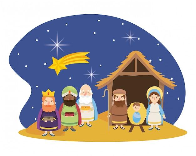 クリスマスの出生シーンの漫画 Premiumベクター