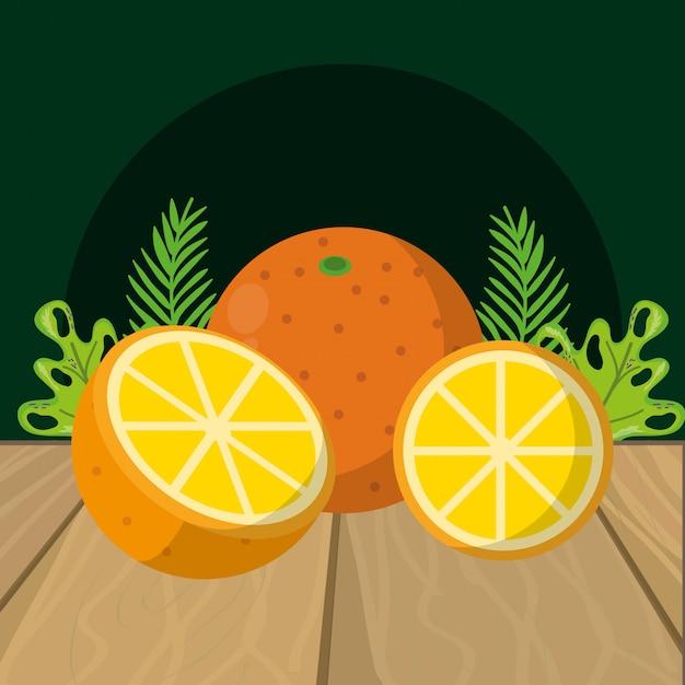 Мультфильм свежие фрукты апельсины Premium векторы