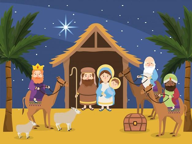 Иосиф с марией и иисусом в яслях и магах царей Premium векторы
