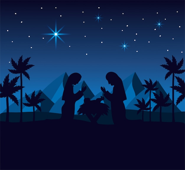 ヨセフとメアリー、山と砂漠のイエスと Premiumベクター