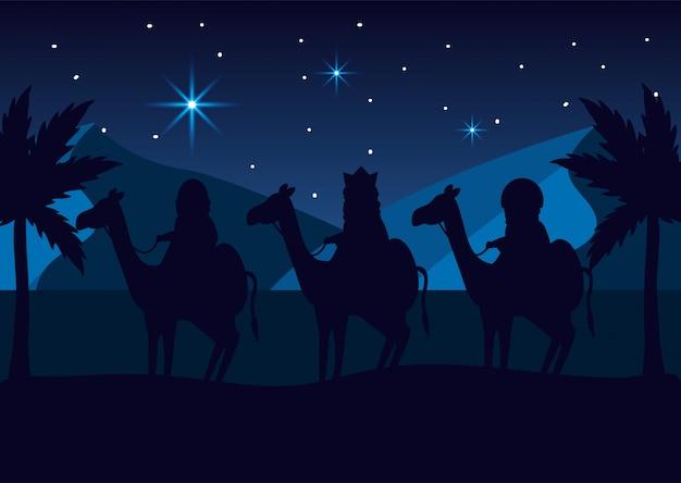 魔法使いの王たちは星の中でラクダを乗せて出世する Premiumベクター