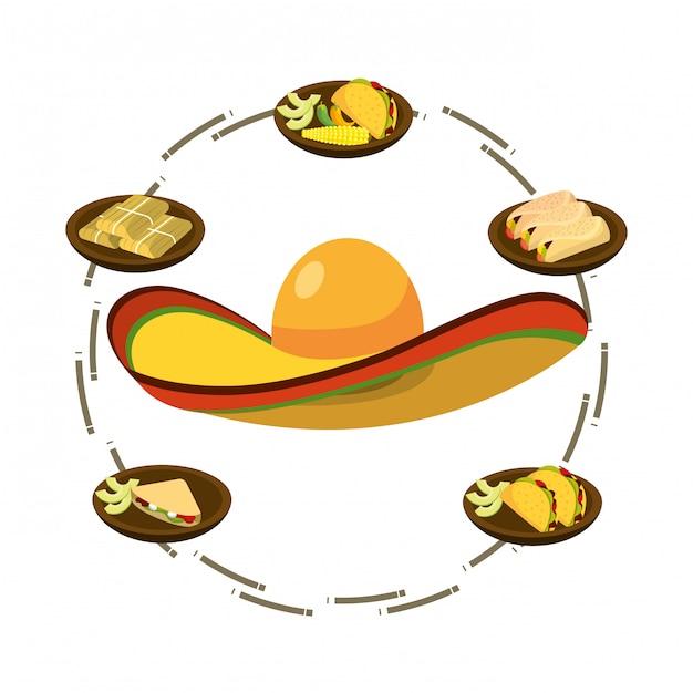 おいしいメキシコ料理の漫画 Premiumベクター