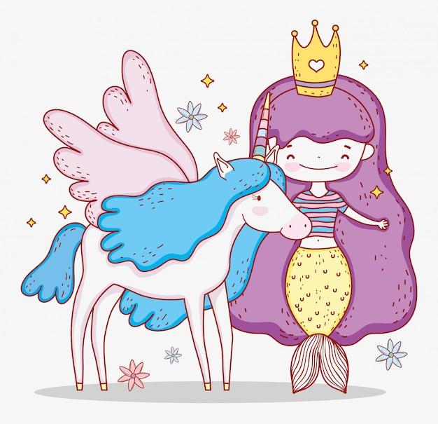 Русалка женщина в короне и единорог с крыльями Premium векторы