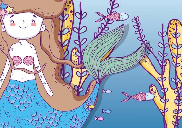 Милая русалка под водой с рыбами и растениями Premium векторы