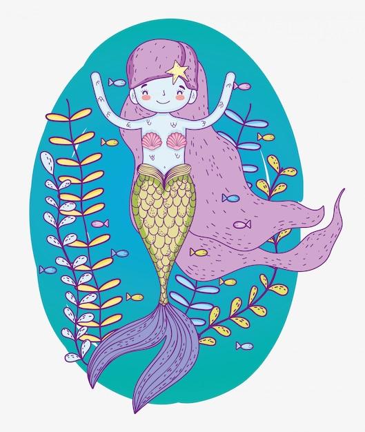 Милая русалка женщина с растениями под водой Premium векторы