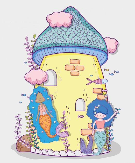 マーメイドの女性と雲と植物の城 Premiumベクター