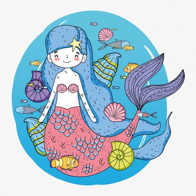 水中の貝殻と魚のかわいい人魚の女性 Premiumベクター