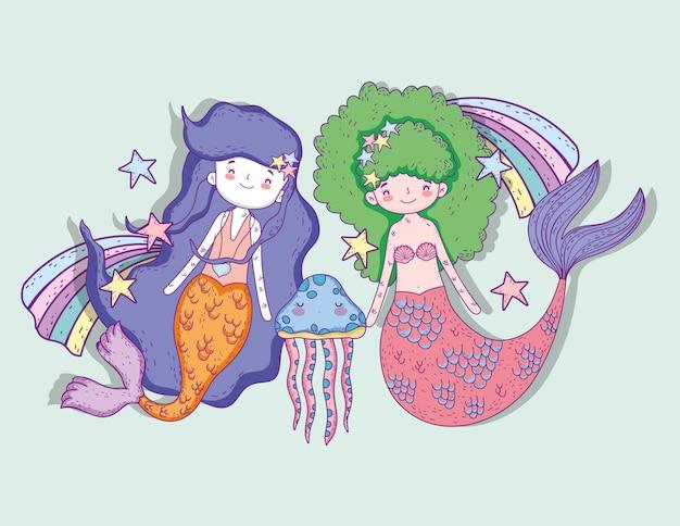 クラゲと星付き虹で人魚の女性 Premiumベクター