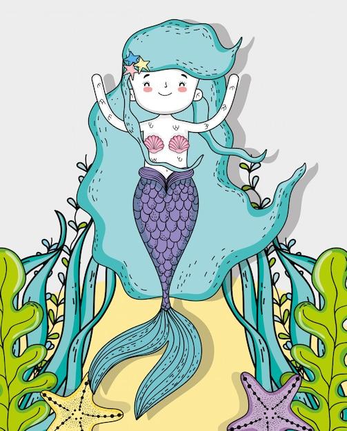 Русалка женщина с морскими звездами и листьями растений Premium векторы