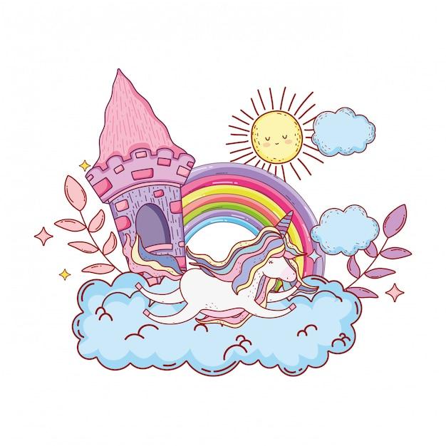 雲の中に城と虹のかわいいユニコーン Premiumベクター