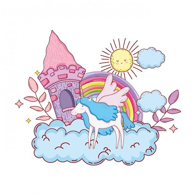 Милый единорог с замком и радугой в облаке Premium векторы