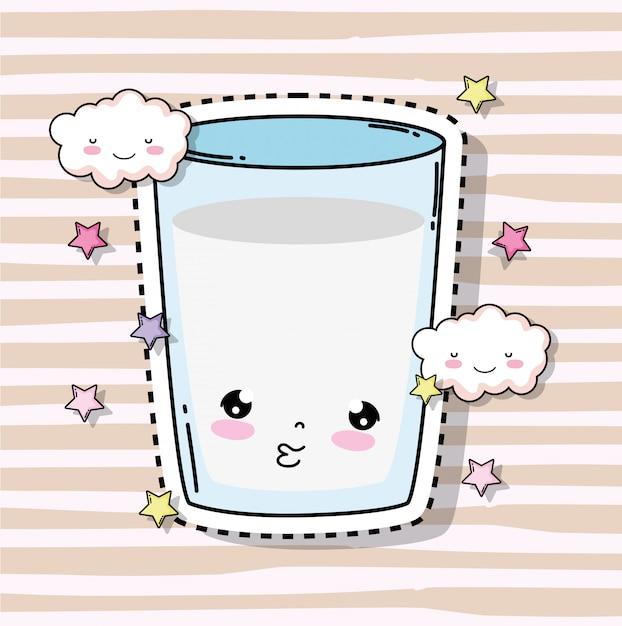 Каваи милый стакан молока с облаками и звездами Premium векторы