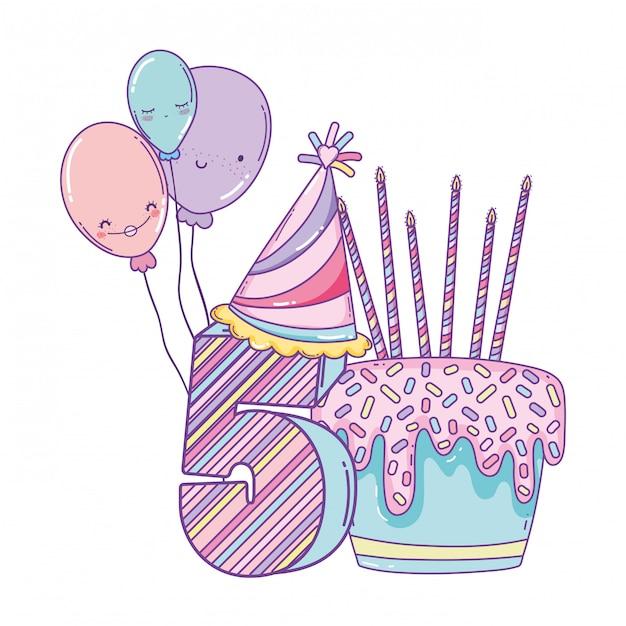 風船と番号の誕生日ケーキ Premiumベクター